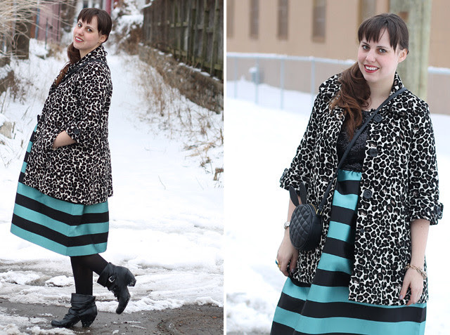 "Sparkle and stripes outfit: Anthropologie ""Starlit Stripes Dress"", leopard brocade coat, black pirate booties, Asos ""ASOS Quilt Cross Body Bag With Rabbit Ears"""