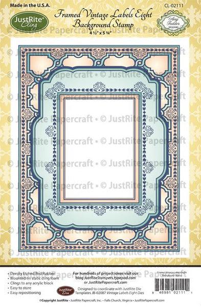 Framed Vintage Labels Eight Cling Background Stamp