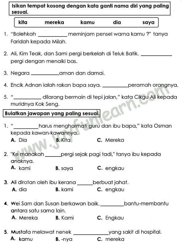 Soalan Latihan Bahasa Melayu Tahun 2 Kssr Selangor T