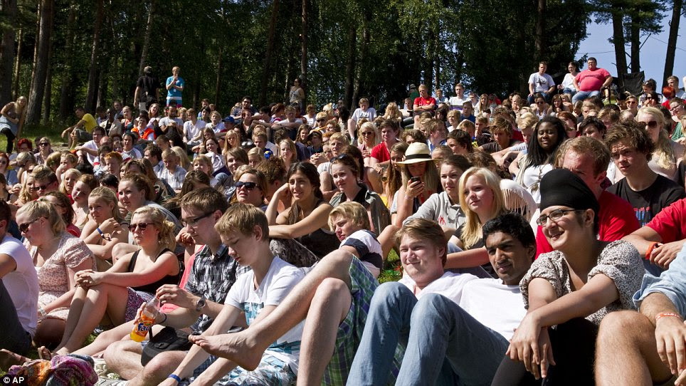 Innocent victims: This picture was taken 24 hours before Anders Breivik launched a shooting rampage on Utoya island. At least nine of the youngsters shown here were killed.
