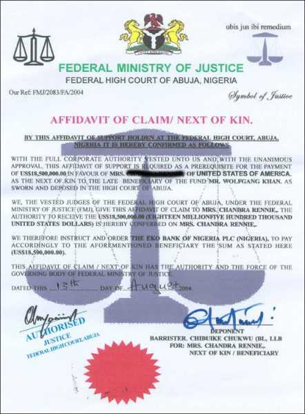 Bogus Nigerian Affidavit of Claim