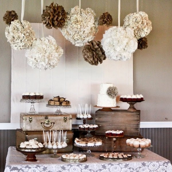 buffet table decorating ideas color palette white beige brown