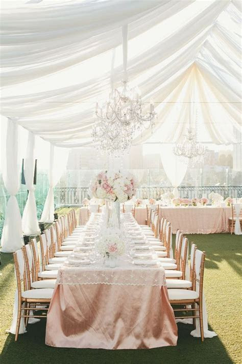 Elegant blush and white tented wedding reception. #tent #