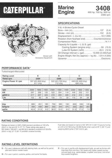 CAT 3408 Marine Engine Specification - (Thin Web Crankshaft)