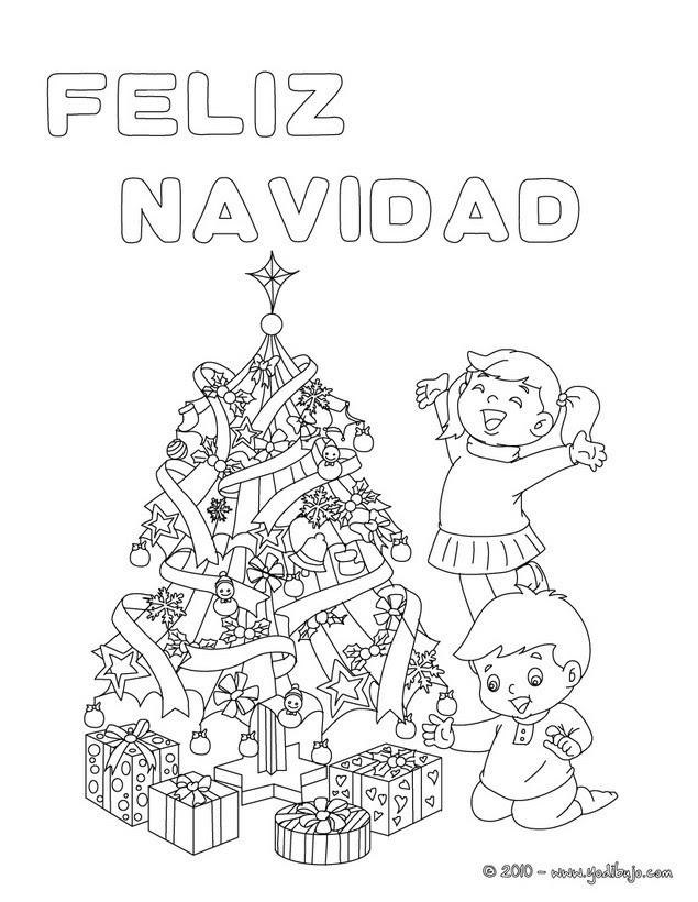 Dibujos Para Colorear Cartel Arbol De Navidad Es Hellokids Com