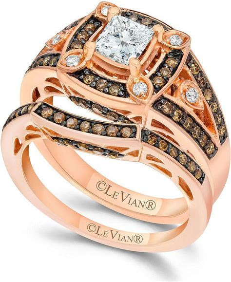 Le Vian Chocolate And White Diamond Engagement Ring Set In