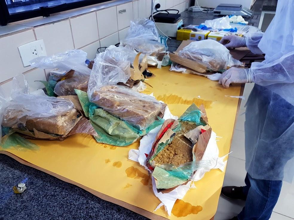 Policiais federais acharam os tabletes de droga em uma cavidade do painel do carro. (Foto: Divulgação / PF)