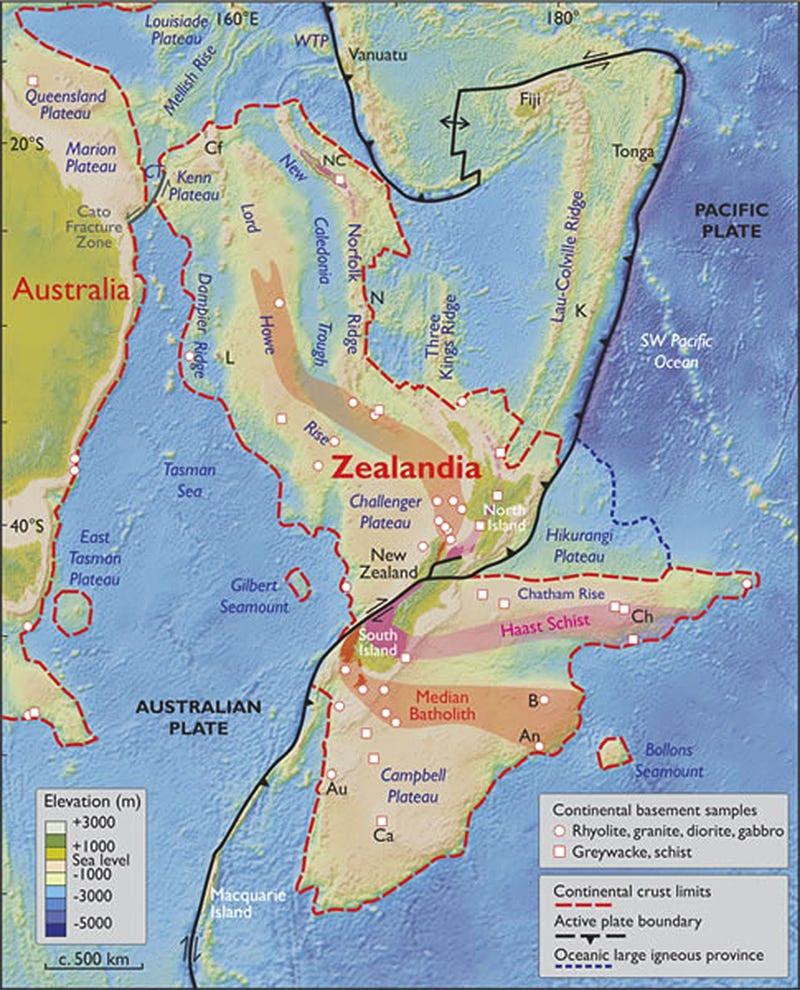 zealandia plate tectonics continent map gsa today