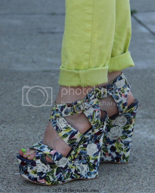J Brand neon jeans, River Island floral wedges, Los Angeles fashion blogger, southern California fashion blog