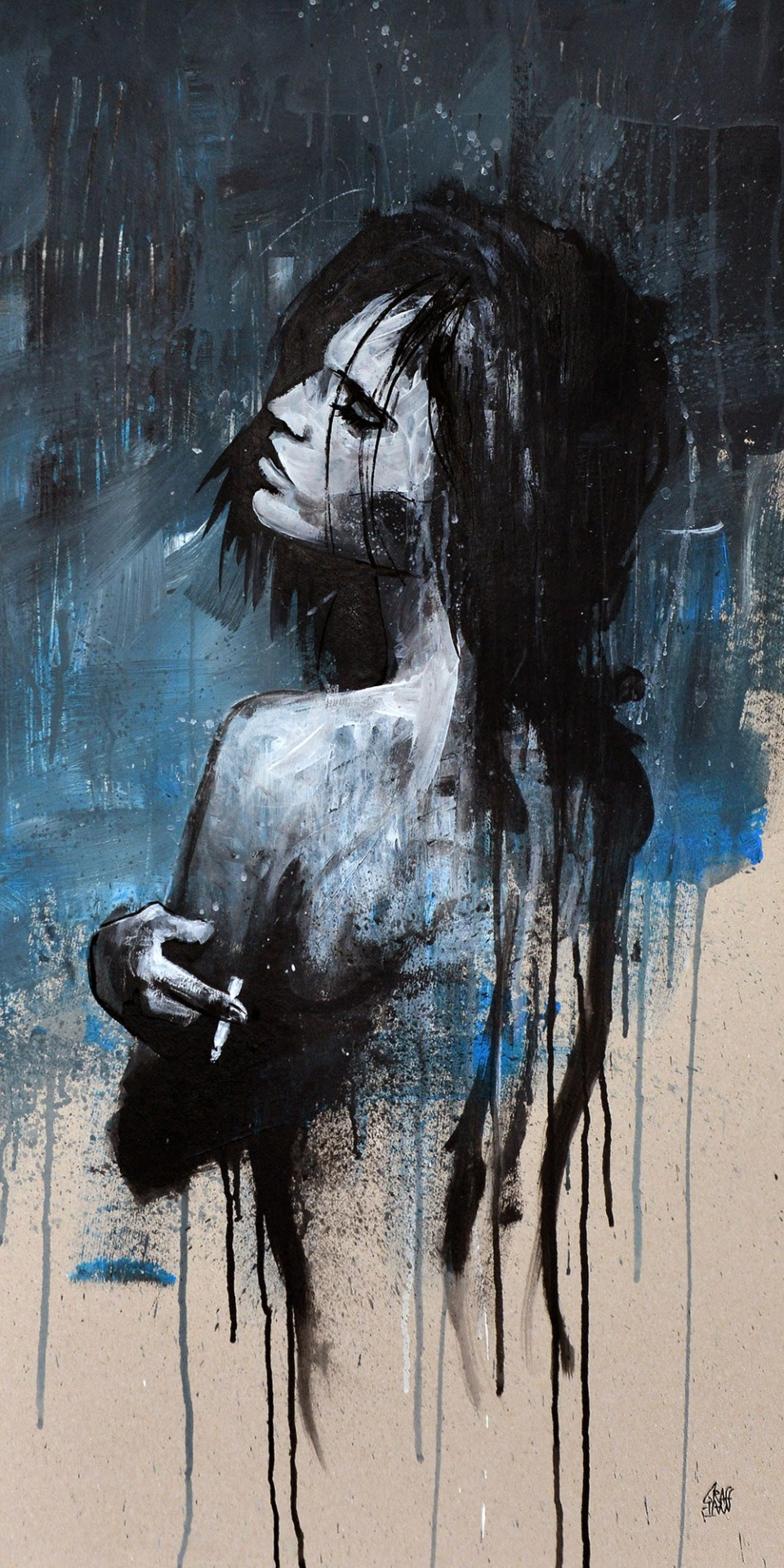 """Girl Smoking Blues"" Artist : GRAFFMATT"