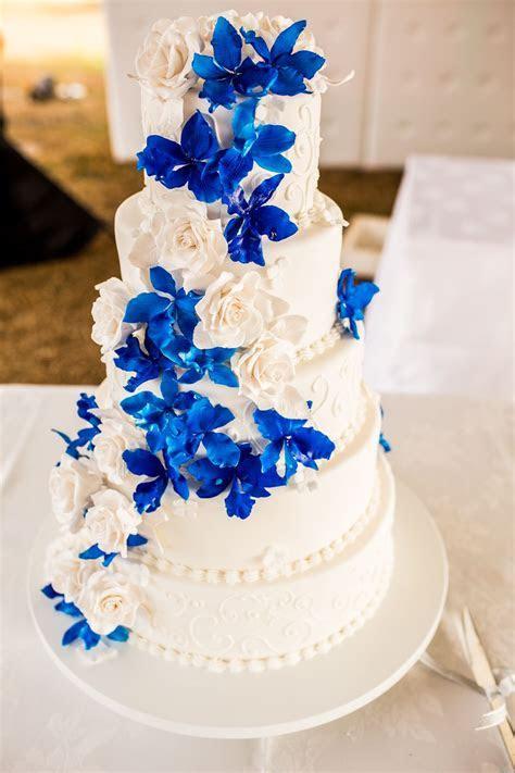 Blue orchid wedding cake   Peacock & Royal Blue Wedding