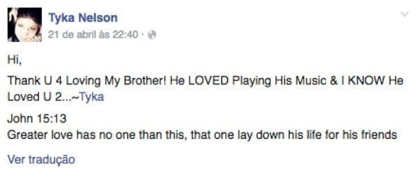 Tyka Nelson agradeceu o apoio pela morte de Prince (Foto: Facebook)