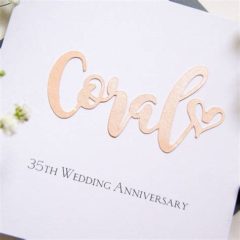 35th coral wedding anniversary card by the hummingbird