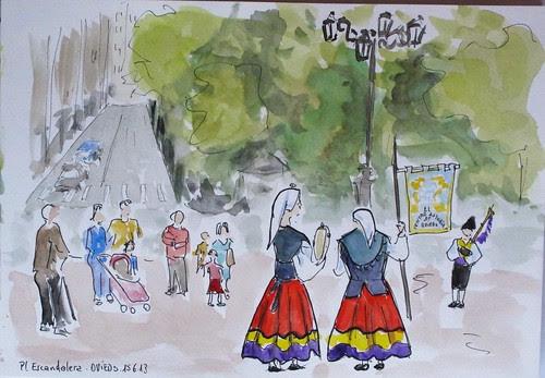 Grupo de gaitas y de baile. Pl. de la Escandalera. Oviedo.