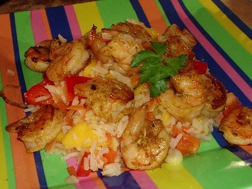 Mango Rice Salad with Grilled Shrimp