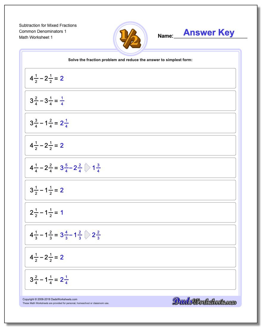 mixed fractions subtraction common denominator v1