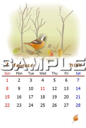 塗り絵カレンダー2月はがきサイズ
