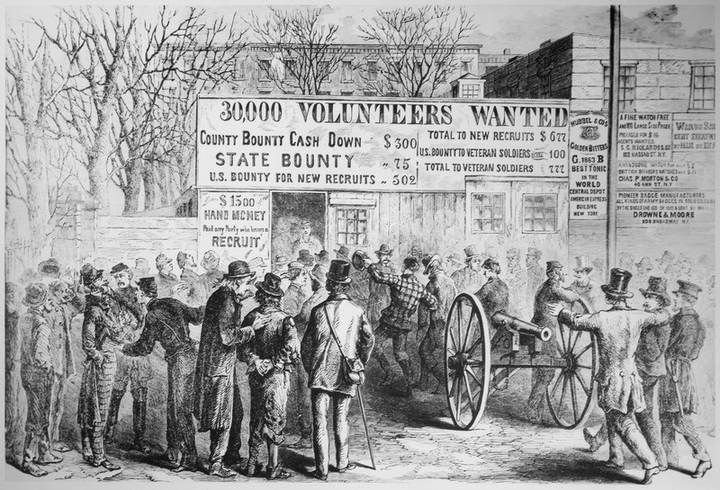 File:Recruiting in the New York City Hall Park in 1864. Illustration from a sketch by George Law, published in Frank Leslie's - NARA - 535914.tif