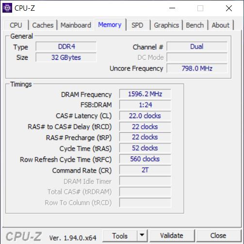 Detalles sobre la RAM, de CPU-Z