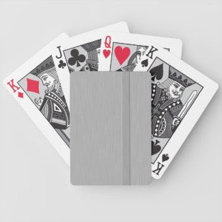 Faux Brushed Metal with Groove Playing Cards