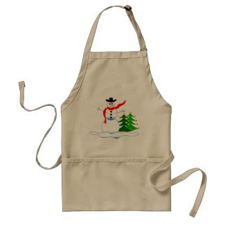 Snowman on Khaki Brown Apron
