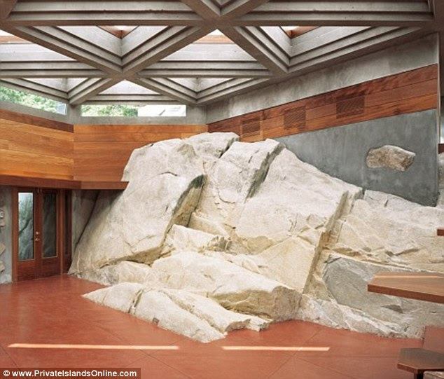 Something different: The rock theme continues throughout the house, with one wall providing a very distinctive focal point