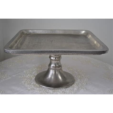 Large Silver Square Pedestal Cake Stand   Helium Balloons