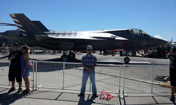 Taking another photo with the F-35B Lightning II parked on the tarmac at the Miramar Air Show...on September 24, 2016.