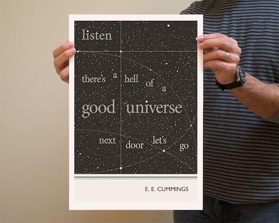 Original Illustration, E. E. Cummings quotation - Fine Art Prints - Art Posters - Literature inspired art - dorm decor