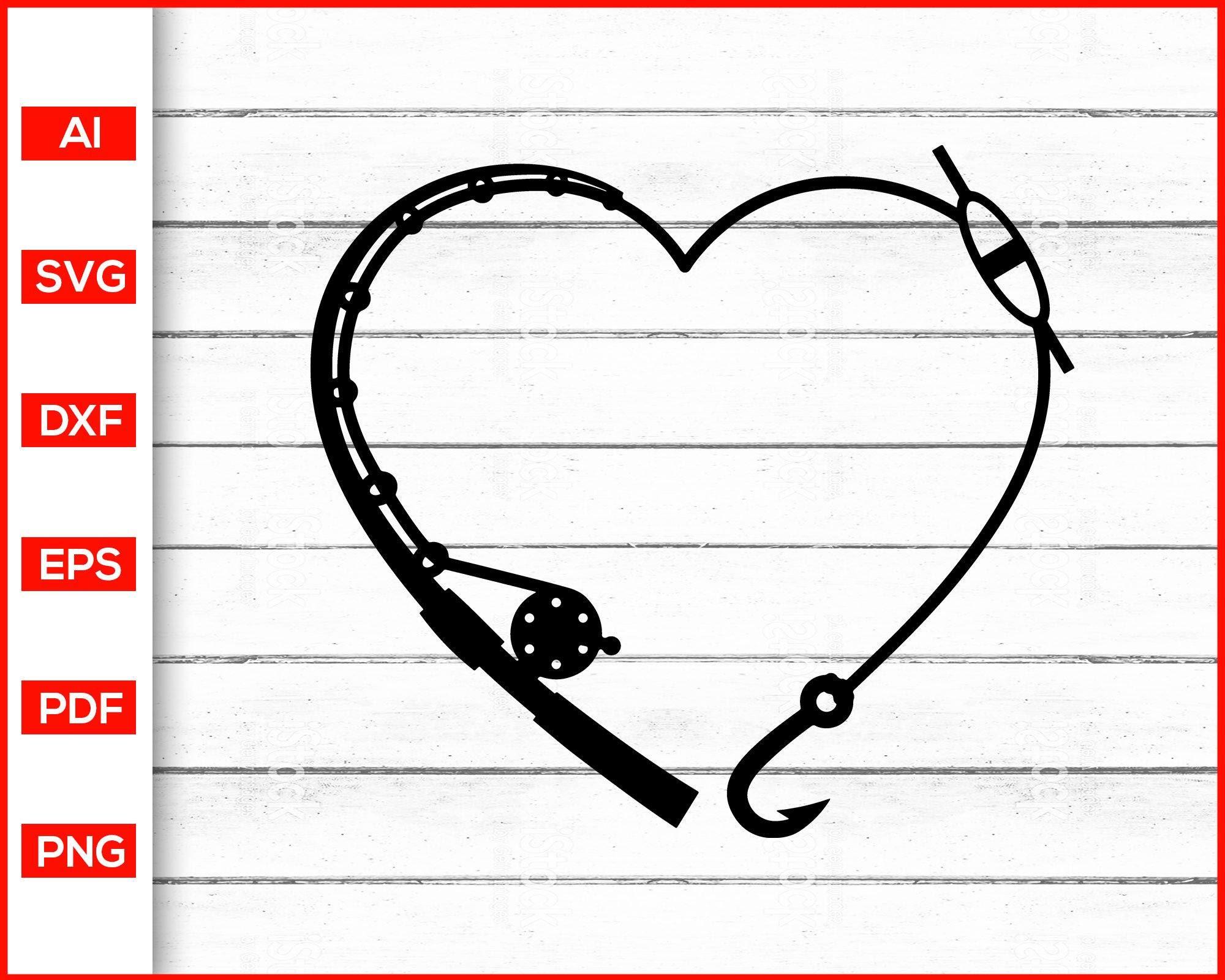 Download Heart Fishing Rod Svg Fishing Svg Valentine S Day Svg Editable Svg File