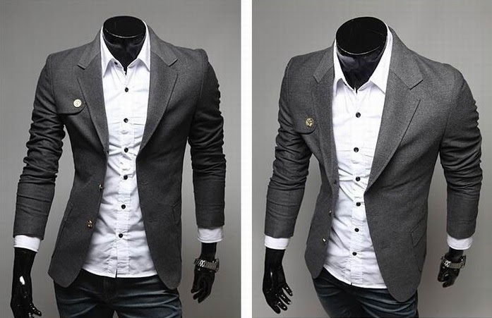Blazer Casual Fashion - Detalle en el Pecho - Gris Oscuro