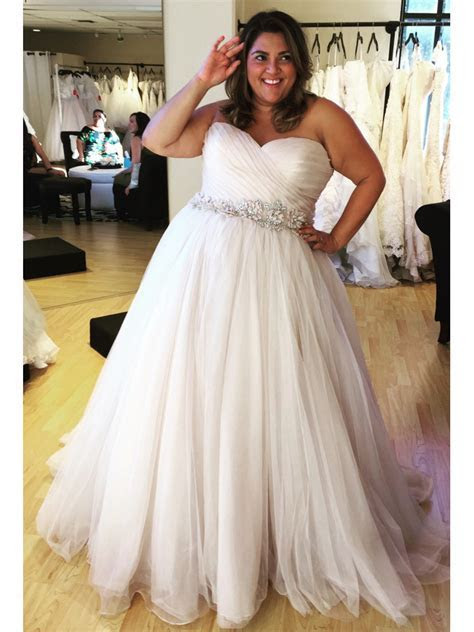 Gorgeous A line Strapless White Long Plus Size Wedding