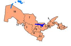 Bản đồ hành chính Uzbekistan
