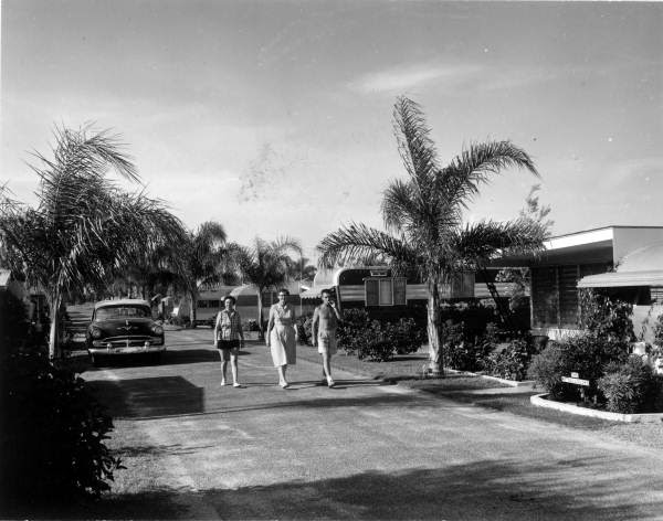 Residents walk through the trailer park - Clearwater, Florida