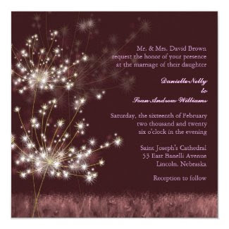Glowing Twilight Dandelion Fall Wedding Invites