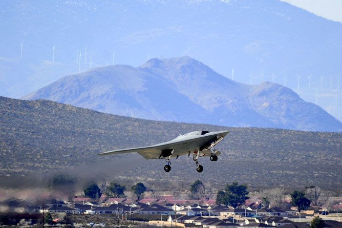 The X-47B UCAS-D drone takes off on its maiden flight from Edwards Air Force Base in California on February 4, 2011.