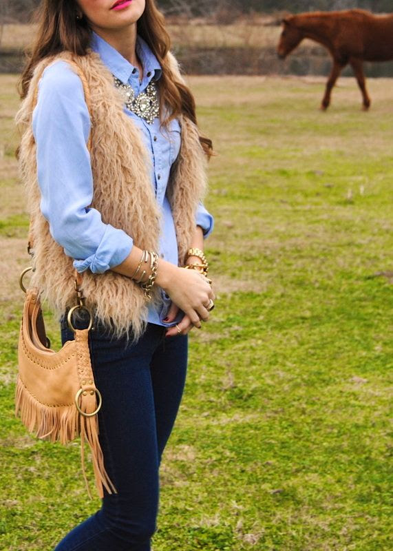Fur vest and jean shirt  Fashion for country girls