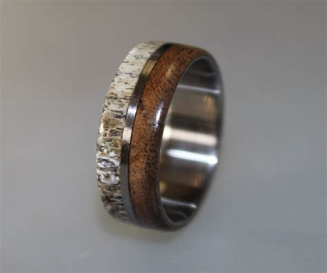 Titanium Ring, Deer Antler Ring, Mens Titanium Wedding