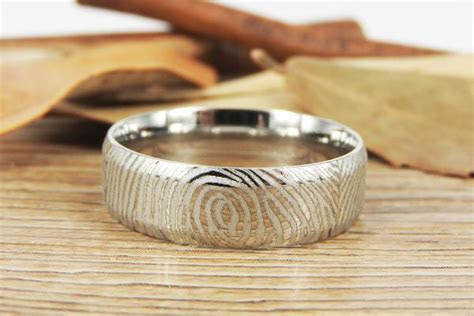 Titanium Fingerprint Ring for Couple   Fingerprint Wedding