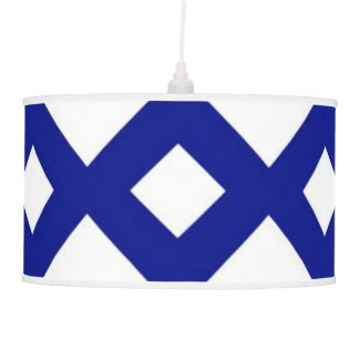 White Diamonds on Navy Hanging Pendant Lamps