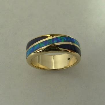 gold opal black jade wedding band mens or ladies