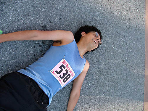 Daniel, collapsed after a 1st place 5k victory.