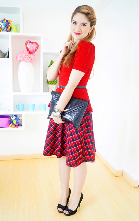 Red Peplum Outfit