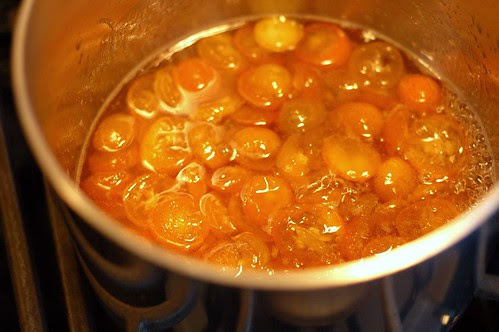 Simmering the kumquats in simple syrup by Eve Fox, Garden of Eating blog, copyright 2013