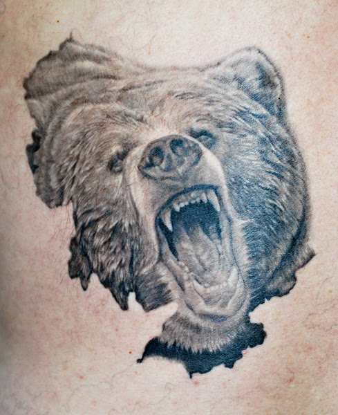 Tattoo by Reed Leslie. Grizzly bears, brown bears, and Kodiak bears are all