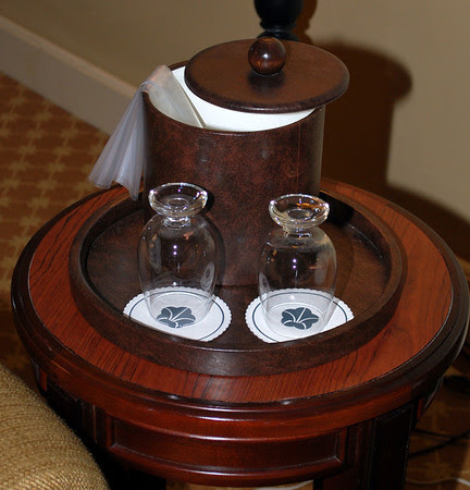 The ice bucket and glasses in our room