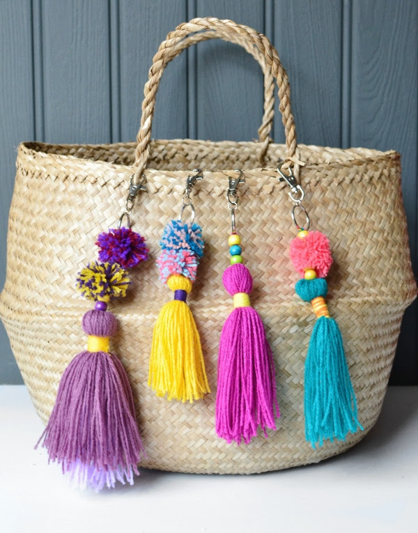 How to make a tassel bag charm with pom pom - Decorator's Notebook blog