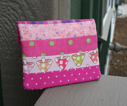 Pink Patchwork Zippy Card Wallet