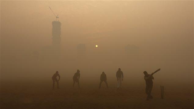 Des hommes jouent au cricket dans un épais brouillard à Kolkata, en Inde (30 décembre 2015).