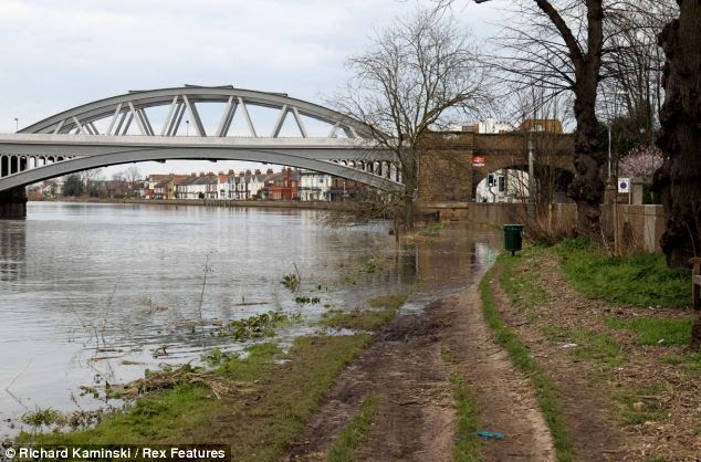 Water levels were much higher than usual in Putney and the path along the riverside became impassable on foot